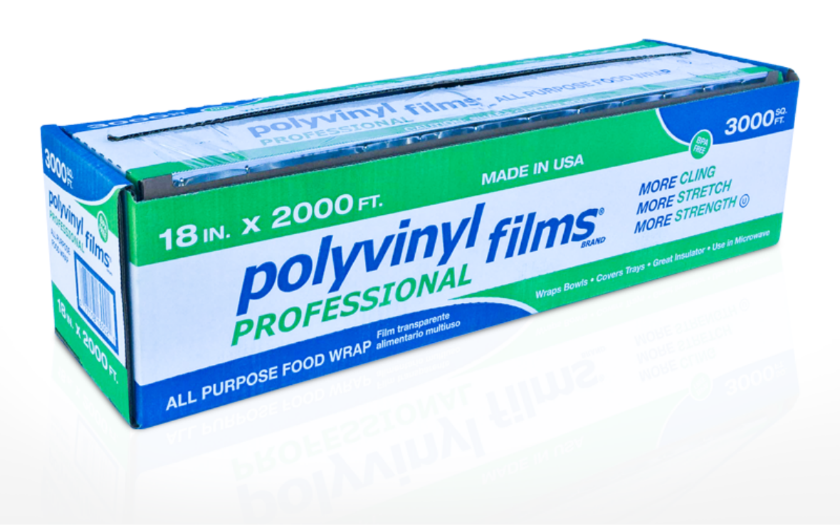 Blue and Green box of Polyvinyl professional plastic wrap cutter box