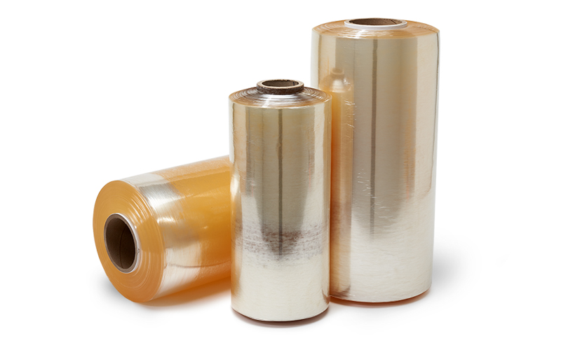 Three large rolls of custom plastic films