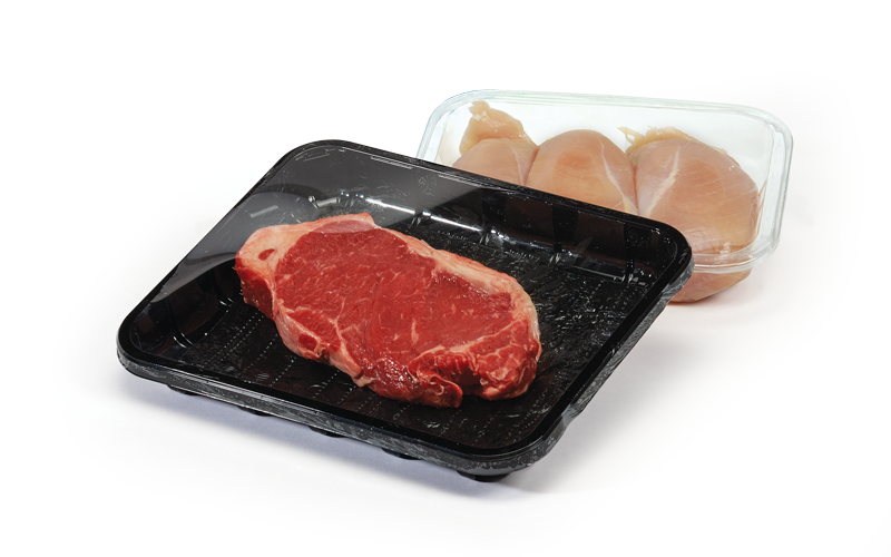 Raw steak and chicken in packaging
