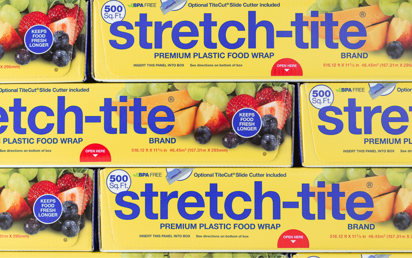 Close-up of mutliple yellow boxes of Stretch-Tite