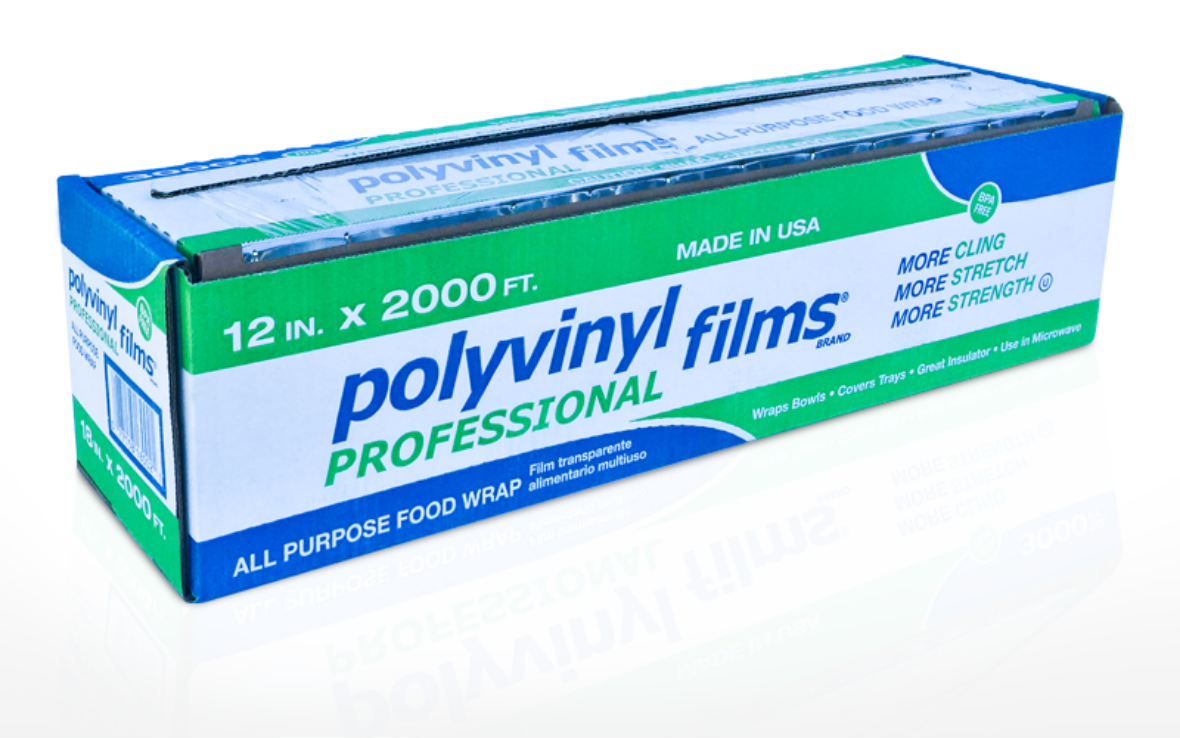 Blue and green box of Polyvinyl Films professional plastic wrap